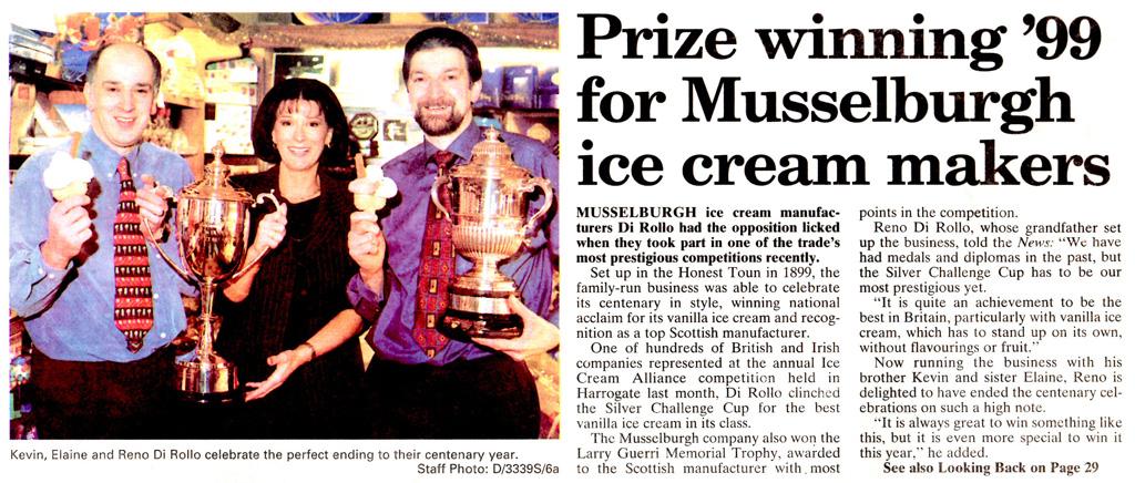 Di Rollos win most prestigious award for ice cream in UK